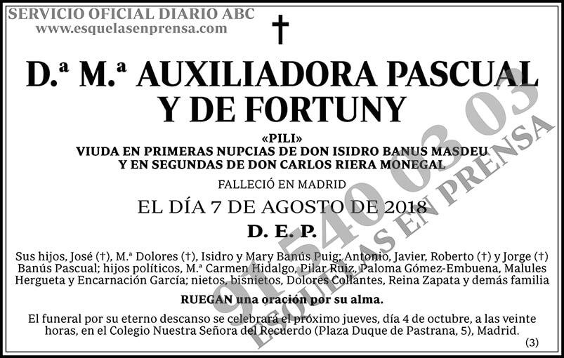 M.ª Auxiliadora Pascual y de Fortuny